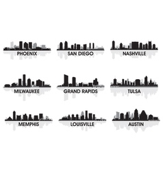 american cities skyline set vector image