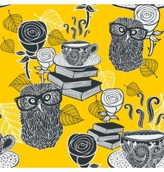 Seamless background with hot tea and clever owls vector