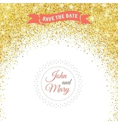 Perfect wedding template with golden confetti vector