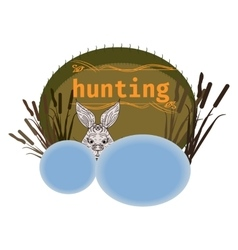 Hunting logo and design elements cattails rabbit vector