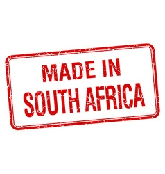 Made in south africa red square isolated stamp vector