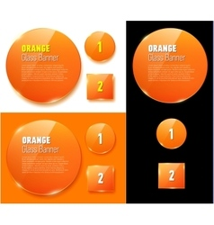Set of isolated glass orange banners vector
