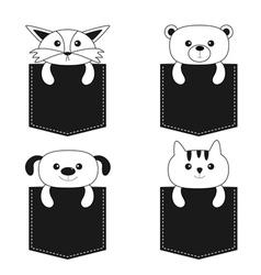 Animals in the pocket cute cartoon dog bear fox vector