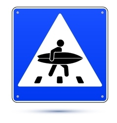 Blue square crossing road sign with surfer vector