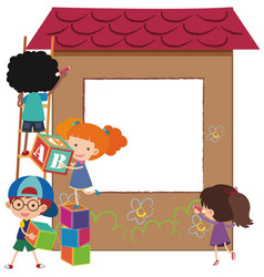 Border template with kids and playhouse vector