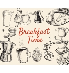 Breakfast Hand Drawn Set vector image vector image