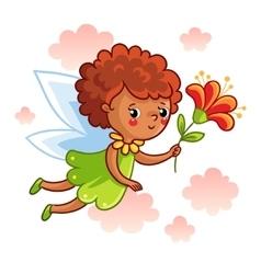 Cute dark-skinned fairy flying on the wings vector image