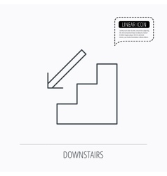 Downstairs icon Direction arrow sign vector image vector image