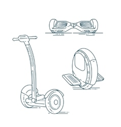 Electric scooters line set vector