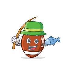 fishing american football character cartoon vector image vector image