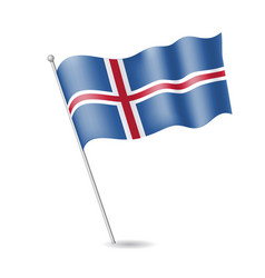 flag of iceland on the flagstaff vector image