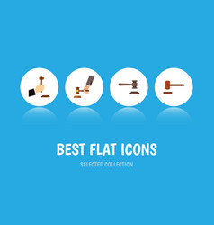 Flat icon hammer set of crime law legal and vector