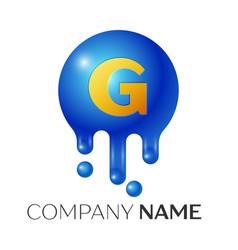 G letter splash logo blue dots and bubbles letter vector