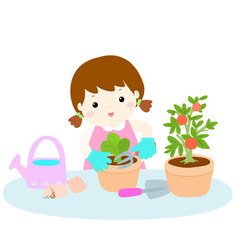 Girl planting tree cartoon vector