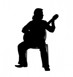 guitar player silhouette vector image
