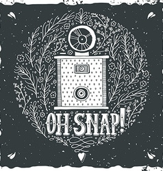 Hand drawn grunge print with a vintage camera and vector image vector image