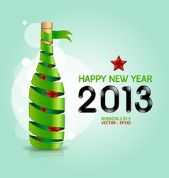 Happy new year 2013 ribbon wine bottle shape vector image