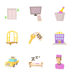 hostel service icons set cartoon style vector image vector image
