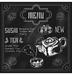 Japanese teapot and cup blackboard vector