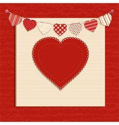 Love heart and bunting background on red vector image vector image