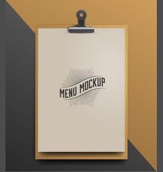 menu template mock up realistic vector image vector image