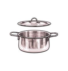 metal chrome pot sketch cartoon isolated vector image