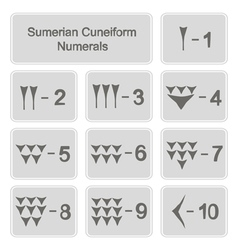 monochrome icons with sumerian cuneiform numerals vector image
