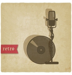 Old background with microphone and record vector