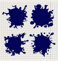 pen splash shapes on notebook background vector image