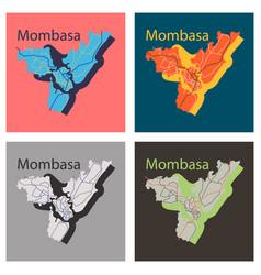 Set of flat line art design - mombasa city map vector