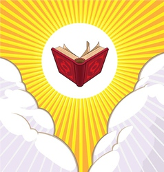 Shining Holy Book Beyond The Clouds vector image