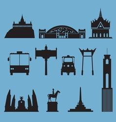 Silhouette icon set of Bangkok city landmark vector image