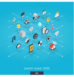 Smart home integrated 3d web icons digital vector