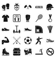Sportsman icons set simple style vector