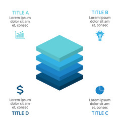 squares layers 3d infographic diagram vector image