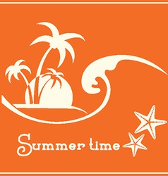 Summer time graphic image with sea wave and vector image