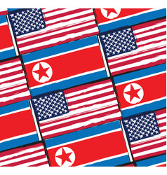 Usa and north korea flags or banner vector