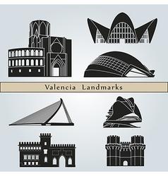 Valencia landmarks and monuments vector