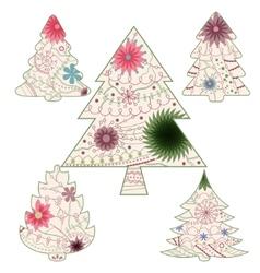 Vintage christmas trees vector image