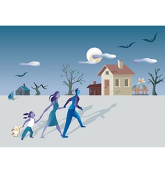 Family and mistery house vector image