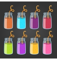 Big set with different smoothies vector image