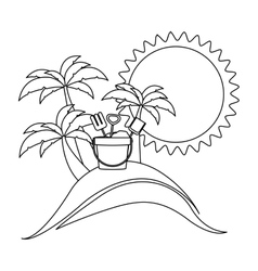 Monochrome contour with beach and bucket tools vector