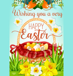 Easter egg hunt basket with flowers poster design vector