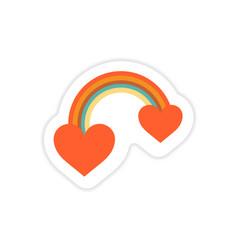 Paper sticker on white background rainbow heart vector
