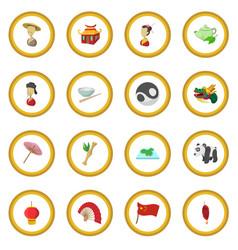 china cartoon icon circle vector image