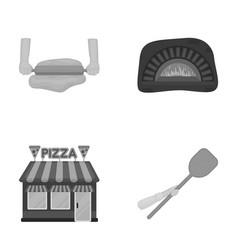 Pizza dough oven pizzeria building spatula for vector