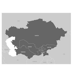 Map of central asia region with highlighted vector