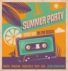 Summer party retro poster vector