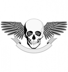 Winged human skull logo vector