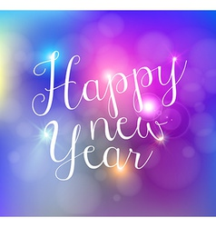 Happy new year bokeh lights card vector
